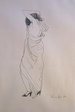 Alfred KORNBERGER - Drawing-Watercolor - Frau mit langem Kleid