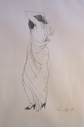 Alfred KORNBERGER - Dibujo Acuarela - Frau mit langem Kleid
