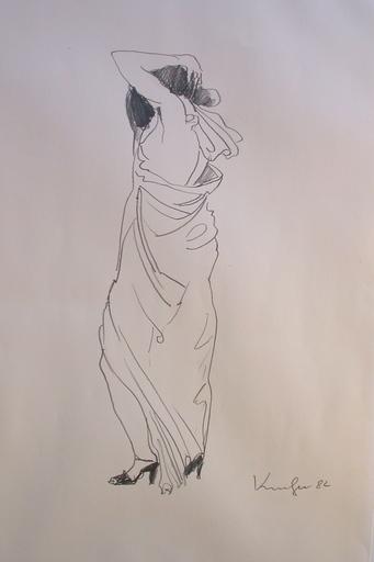 Alfred KORNBERGER - Disegno Acquarello - Frau mit langem Kleid