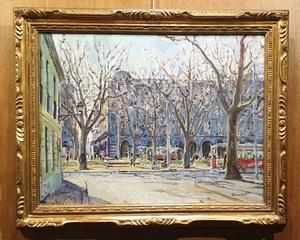José AMAT PAGES - Painting - otoño en la Plaza Palau - Barcelona