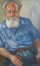 Moussia TOULMAN - Pintura - Portrait of a Man in Blue Shirt,1965