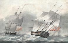 Franz Xaver GRUBER - Dibujo Acuarela - Seeschlacht
