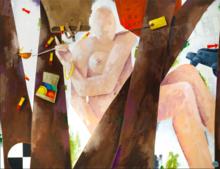 Emilio TADINI - Pintura - Profugo in bosco