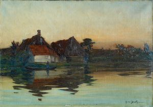 Abel BERTRAM - Pintura - chaumières d' ARTOIS