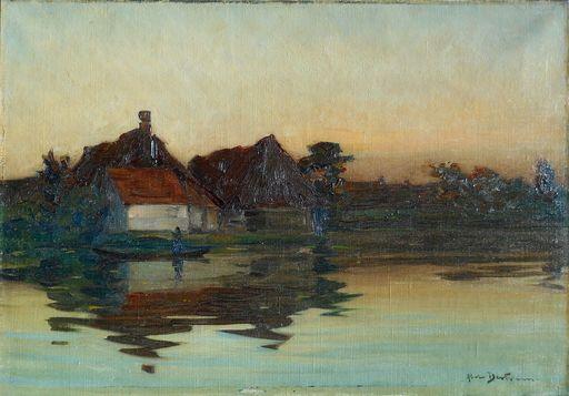 Abel BERTRAM - Painting - chaumières d' ARTOIS