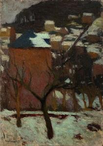 Marcel COUCHAUX - Pintura - Bois-Guillaume sous la neige
