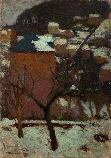 Marcel COUCHAUX - Gemälde - Bois-Guillaume sous la neige