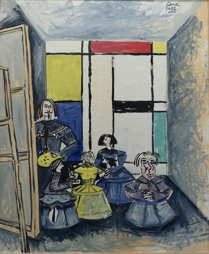 Louis CANE - Peinture - Les Ménines, Hommage à Velasquez, Picasso et Mondrian