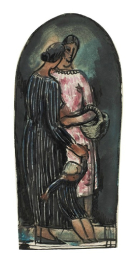 胡里奥·冈萨雷斯 - 水彩作品 - Maternité noire et rose