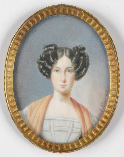 """Emanuel Thomas PETER - Miniature - """"Portrait of a young lady"""" miniature on ivory"""