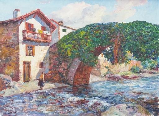 Louis FLOUTIER - Painting - Pont de Saint Etienne de Baïgorry