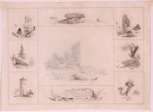 "Georg Emil LIBERT - Drawing-Watercolor - ""Romantical Views"", Drawing, 1848"