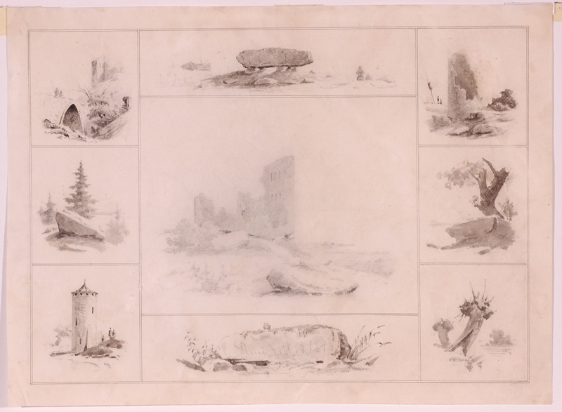 "Georg Emil LIBERT - Dessin-Aquarelle - ""Romantical Views"", Drawing, 1848"