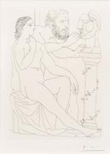 Pablo PICASSO - Estampe-Multiple - Sculpteur, modèle et buste sculpté, Pl.38 from 'La Suite V
