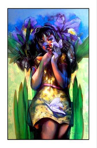 Héctor VELÓZ MARTÍNEZ - Pittura - El Ángel de la Orquidea / Orchid Angel