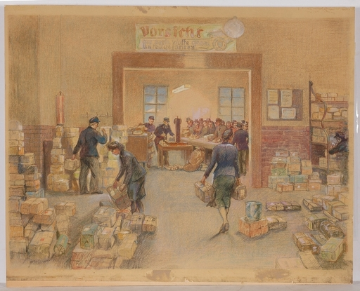 """Fritz AMANN - Drawing-Watercolor - """"Christmas Mail/WWII"""", Watercolor"""