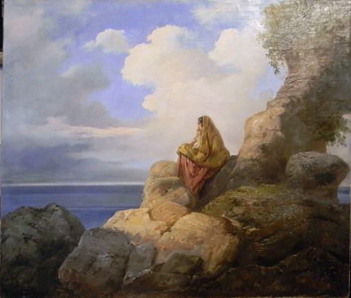 Vincenzo CABIANCA - Pintura - Country Girl on Rocks