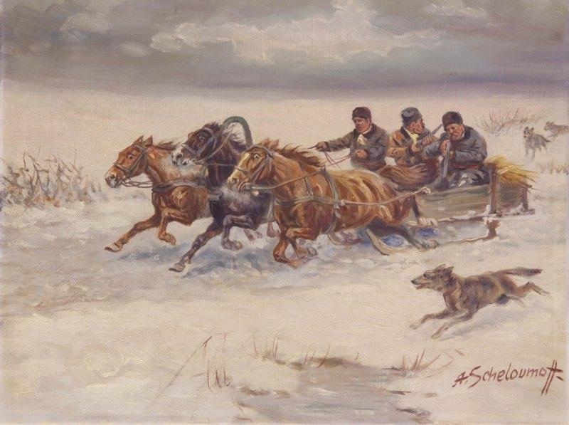 Afanasij Ivanovic SCHELOUMOFF - Painting - Winter Ride