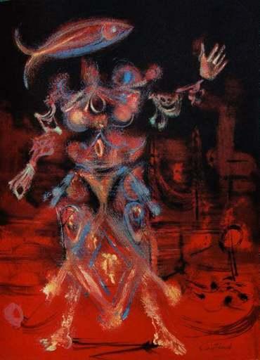 Lucien COUTAUD - Druckgrafik-Multiple - Figure de l'aire rouge