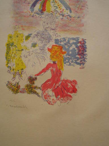 Constantin Andréevitch TERECHKOVITCH - Estampe-Multiple - Trois personnages à l'ombrelle,1957.
