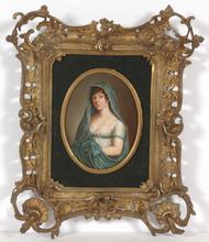 """Johann Heinrich SCHRÖDER - Miniature - """"Duchess Marie of Brunswyck"""", important oil miniature!"""