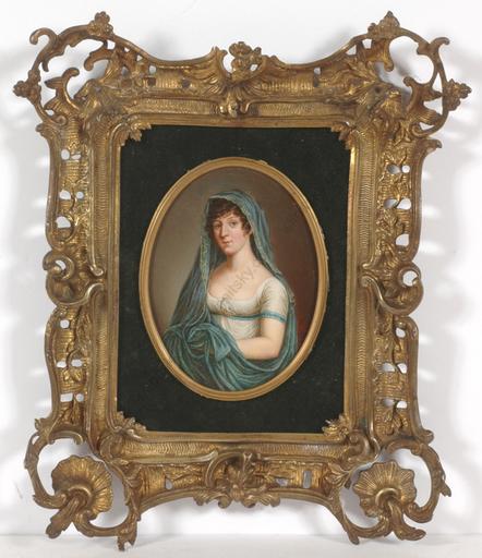"""Johann Heinrich SCHRÖDER - Miniatur - """"Duchess Marie of Brunswyck"""", important oil miniature!"""