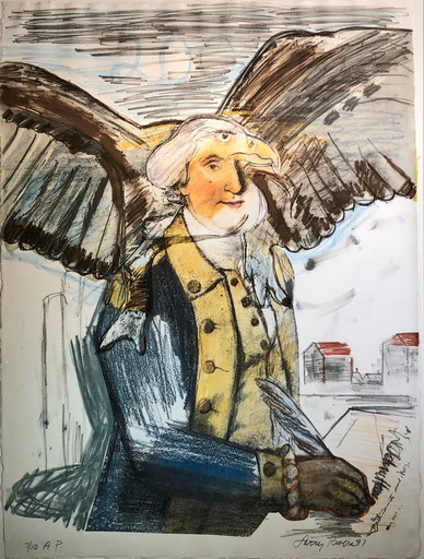 Larry RIVERS - 版画 - Bald Eagle, George and part of the constitution