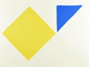 William SCOTT - Grabado - Yellow Square Plus Quarter Blue