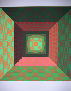 Victor VASARELY, Green and Orange Composition