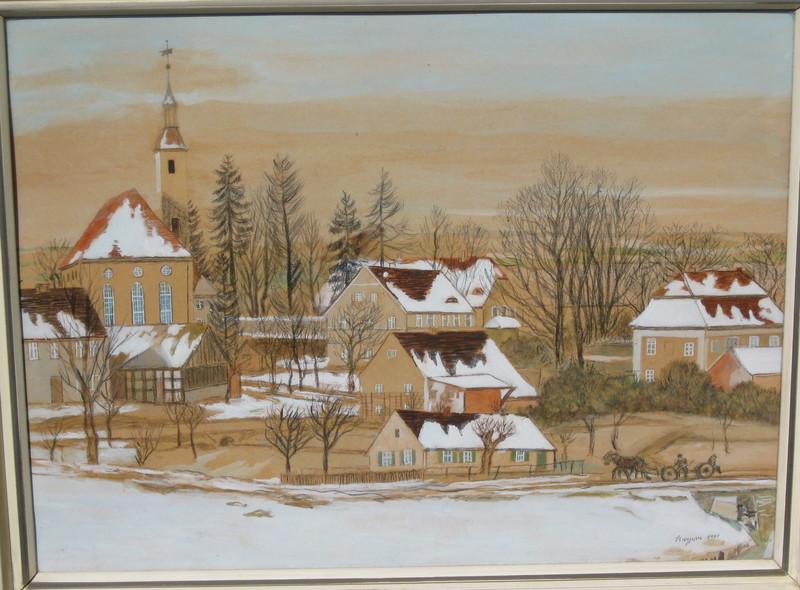 Cornelis KUYPERS - 水彩作品 - Schneelandschaft mit Pferdefuhrwerk