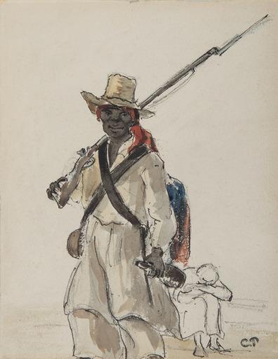 Camille PISSARRO - Zeichnung Aquarell - Vénézuélien au fusil