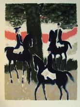 安德烈·布拉吉利 - 版画 - Trois cavaliers au soleil couchant,1968.