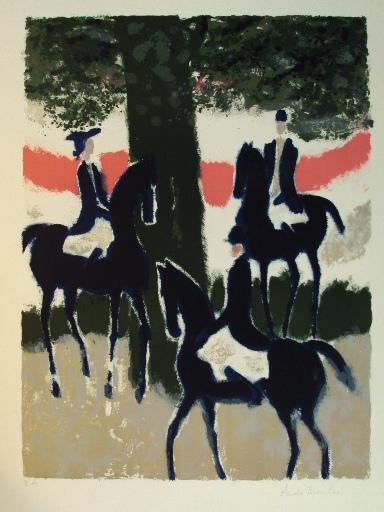 André BRASILIER - Grabado - Trois cavaliers au soleil couchant,1968.