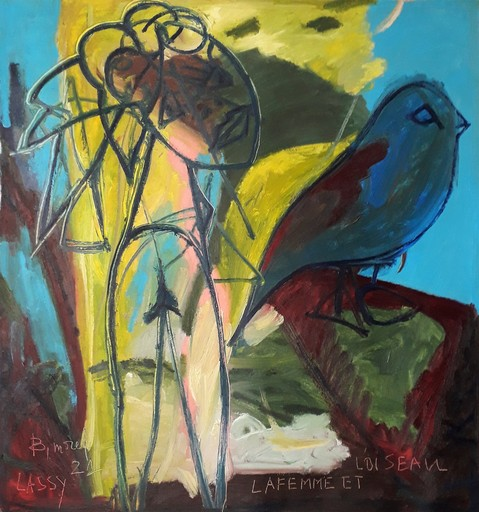 Bernard MOREL - Peinture - FILLE ET L'OISEAU.