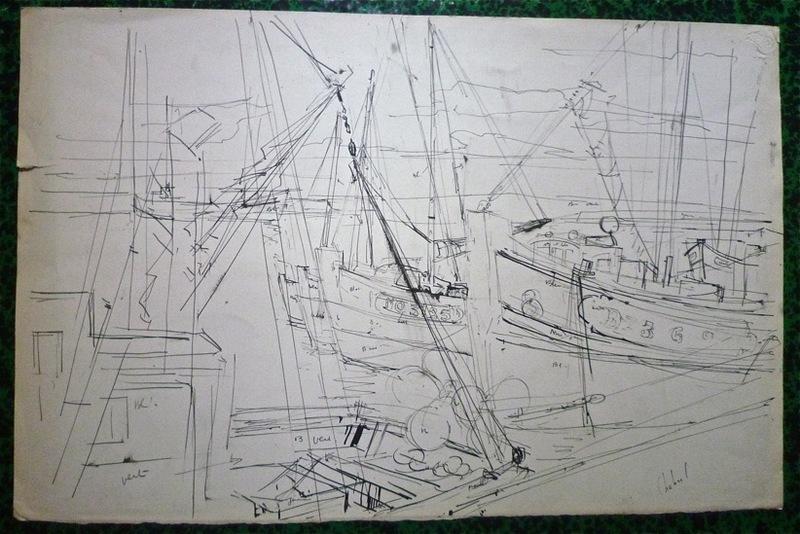 Guy CHABROL - Dibujo Acuarela - Bateaux de pêche à quai