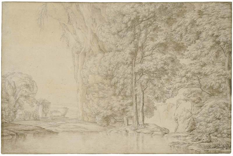 Franz KOBELL - Disegno Acquarello - Ideale Landschaft mit steiler Felswand.