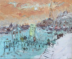 Jean FUSARO - Pintura - Ponton à Venise