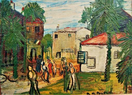 Michel-Marie POULAIN - Pintura - Toulon. Scène animée, allée des palmiers, la mairie.