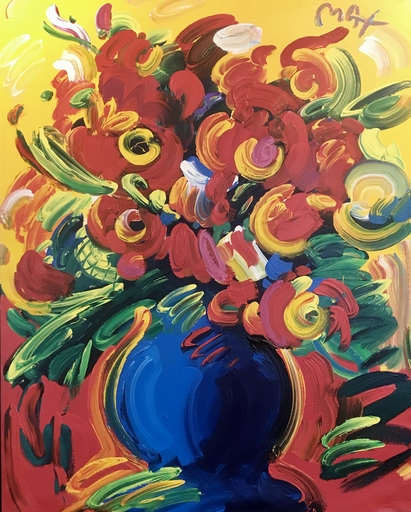 Peter MAX - Painting - Flowers in Vase XIV