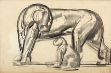 Paul JOUVE - Dibujo Acuarela - Lionne et son petit