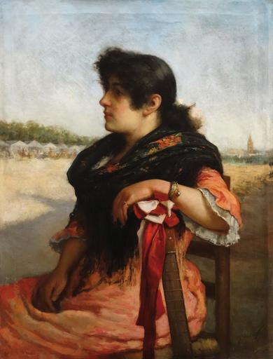 José María ALARCÓN Y CÁCERES - Painting - En la feria