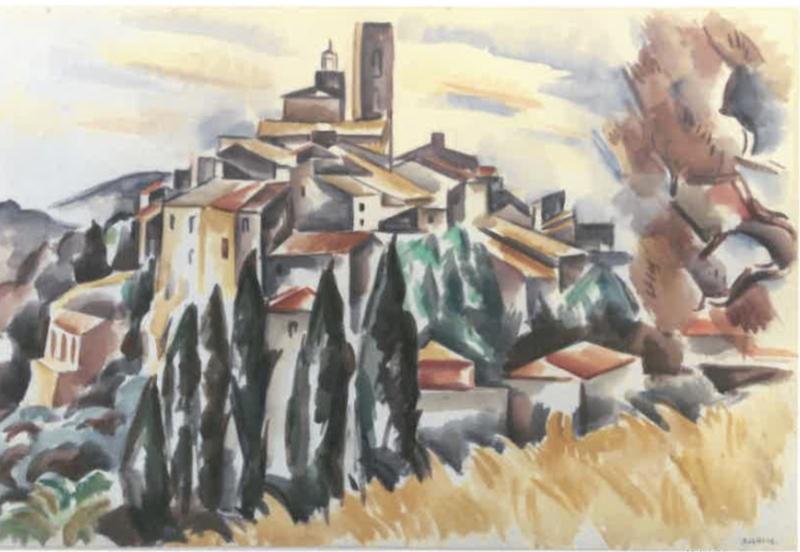 André LHOTE - Dibujo Acuarela - Saint-Paul de Vence