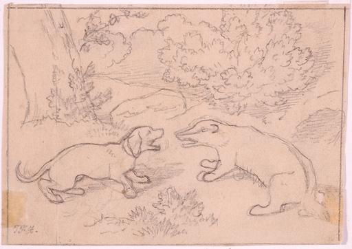 """Theodor Franz ZIMMERMANN - Zeichnung Aquarell - """"Two Animalist Drawings"""""""