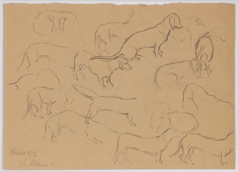 """Valeri V.G. KRAUS - Zeichnung Aquarell - """"Dachshund Studies"""" by Valerie Kraus, 1912"""