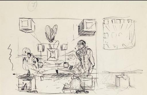 Salvador DALI - Drawing-Watercolor - Cube Del Mar
