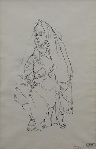 Anna TICHO - Zeichnung Aquarell - Seated Woman