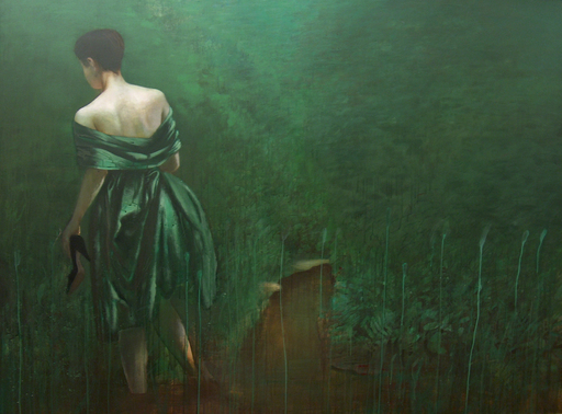 Dace LIELA - Painting - LADY IN GREEN