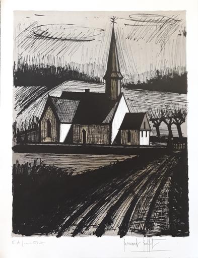 Bernard BUFFET - Radierung Multiple - L'église de Lorleau (1er état)