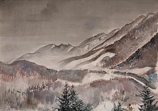 Georg MAYER - 水彩作品 - Verschneite Landschaft