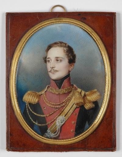 "Johann Nepomuk ENDER - Dessin-Aquarelle - ""Young Ulan officer"" large miniature, 1820's"